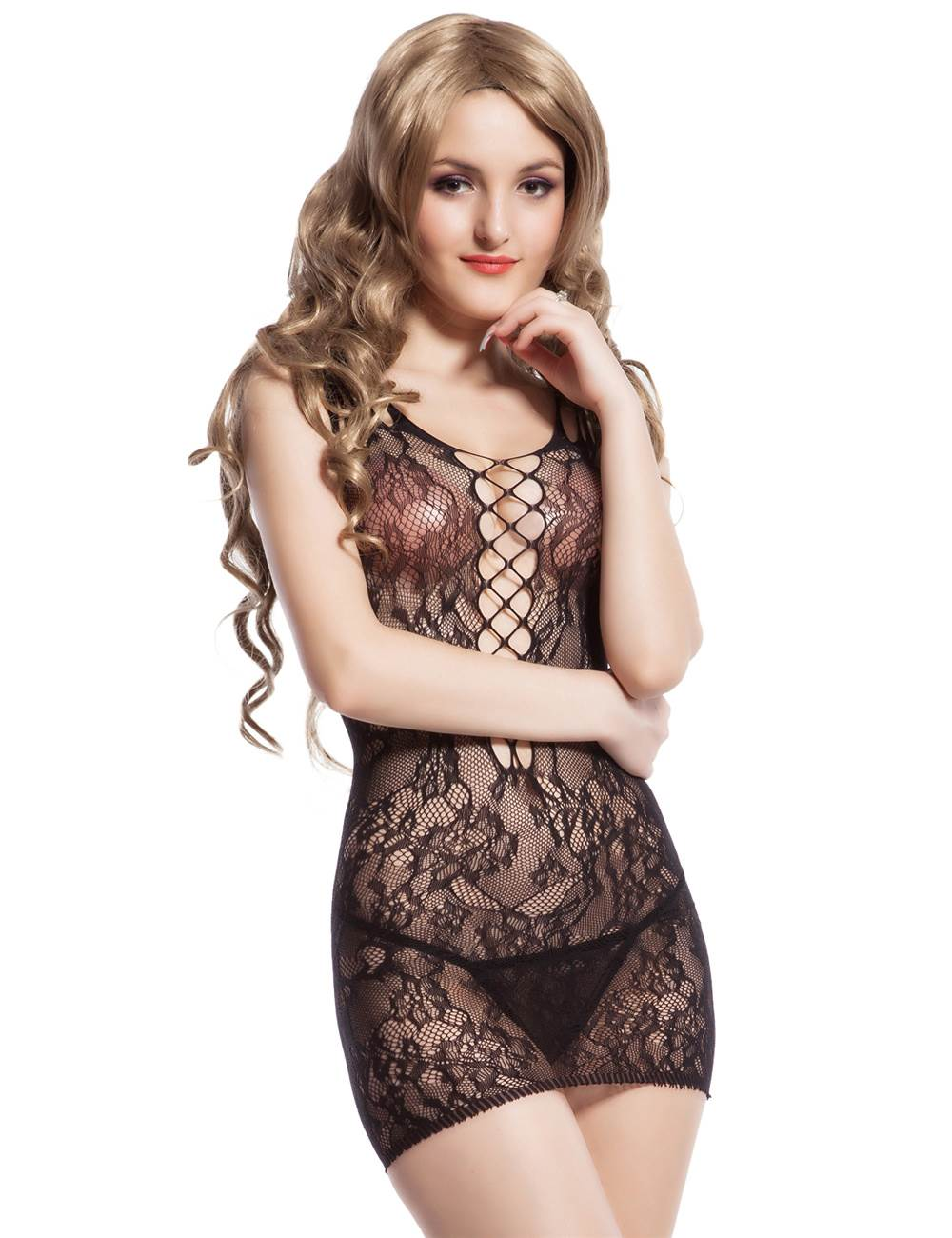Black Striped Off Shoulder Bodystocking Plus size | Body
