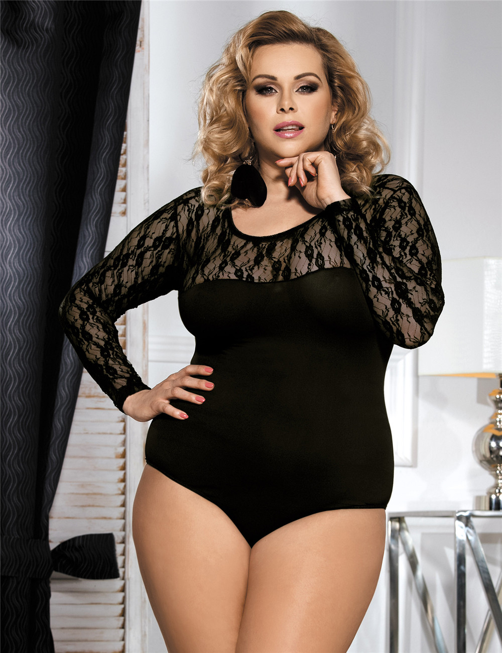 Oem Black Tight Long Sleeve Lace Patchwork Teddy Lingerie
