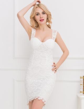 us798 bustier white lace bodycon mini dress